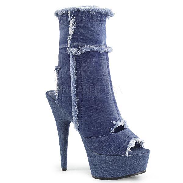 Peep-Toe Plateau Jeans Bootie DELIGHT-1030